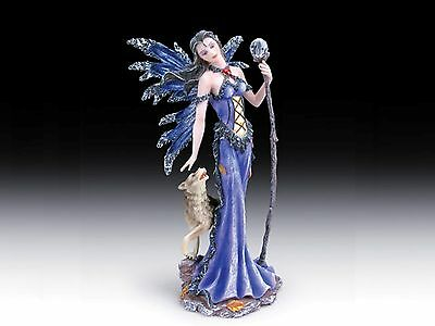 Everspring Fairy Blue Gown Holding Scepter Wolf 10 inch Statue Figurine WFR-25