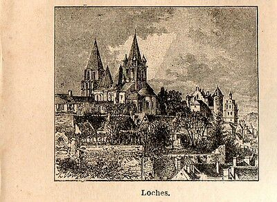 Stampa antica LOCHES piccola veduta Indre-et-Loire 1898 Ancien gravure Old Print