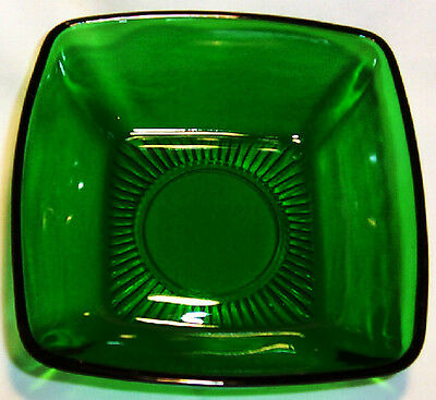 "Anchor Hocking Glass Fire King Charm Forest Green 4-3/4"" Square Dessert Bowl!"