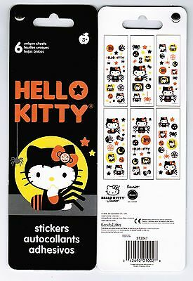 6 sheets HELLO KITTY Sanrio Stickers! Halloween Spiders Stars Web Black Bow