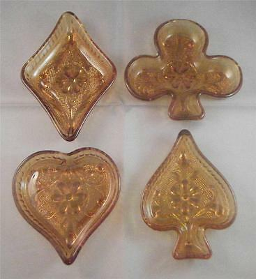 Vintage Indiana Tiara Amber Glass Card Suit Figural Candy Nut Dishes Bowls (4)