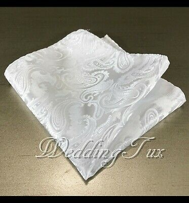 New Men's Paisley Handkerchief Only Pocket Square Hanky WHITE Wedding Party