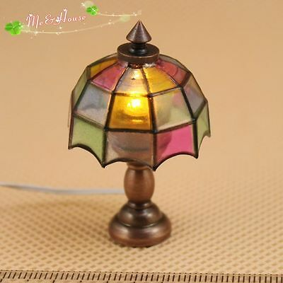 1/12 dollhouse Tiffany table lamp 12 volt working light