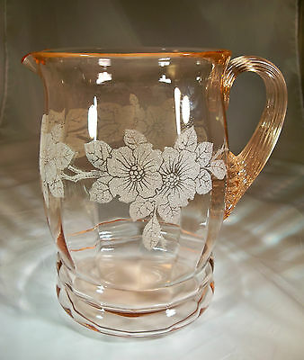 MacBETH EVANS DOGWOOD APPLE BLOSSOM PINK 80-OUNCE DECORATED BEVERAGE PITCHER!