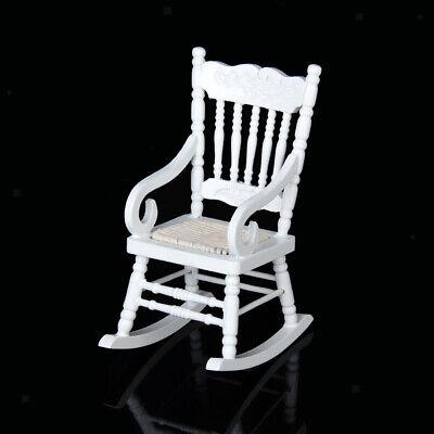 Miniature Wooden Rocking Chair Furniture Model for 1/12 Scale Dollhouse White