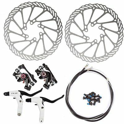 MTB Mechanical Disc Brake Front + Rear 160mm Rotor Lever Cable  Black Free ship