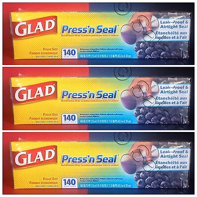 LOT 3 Glad Press'n Seal 3/140 rolls 420sq.ft Total Multipurpose Sealing Wrap 10X