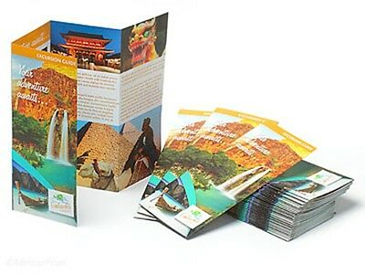 "2500 Double Parallel Fold Glossy Brochures REAL PRINTING not copies 8 1/2""x11"""