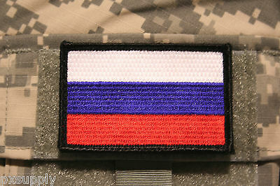 """russia flag patch embroidered hook and loop backing russian tactical 3"""" x 2"""""""