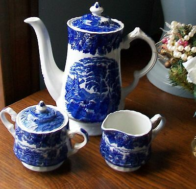 Vintage Enoch Wood's English Scenery Woods Ware Wood & Sons Teapot Set