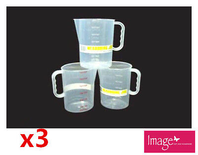 3pcs Measuring Jug Graduated 1500ml Plastic Clear Transparent Jug Cup Q112992
