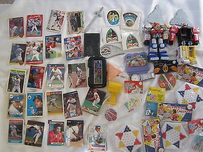 Junk drawer Lot of vintage hand held games, baseball cards and Gemini stickers