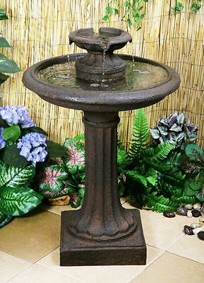 2 Tier Birdbath Water Fountain Feature Classic Victorian Cast Iron Effect Garden