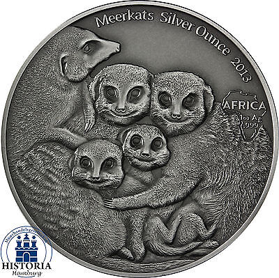 Africa Series 2013: Congo 1000 Francs Meerkats Silver Ounce antique finish