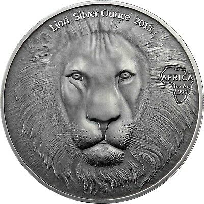 Ghana 5 Cedis 2013 Lion Head Silver Ounce Africa Antique Finish Series
