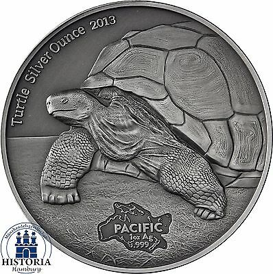 TURTLE SILVER OUNCE  2013 -  Tokelau $5 antique finish 1 Oz  .999 Silver Coin