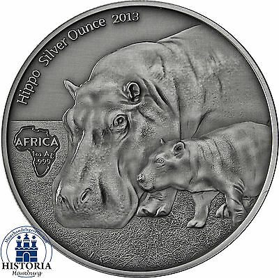 Africa Series 2013: Congo 1000 Francs Hippo Silver Ounce antique finish