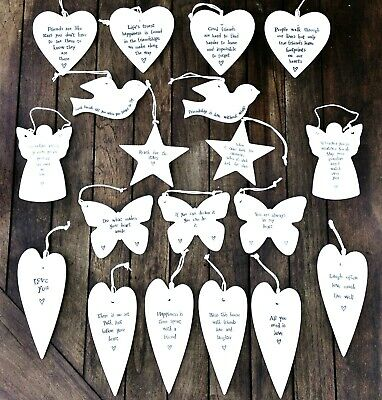 East Of India Porcelain Ceramic Hanging Hearts Star Bird Butterfly Gift Friend