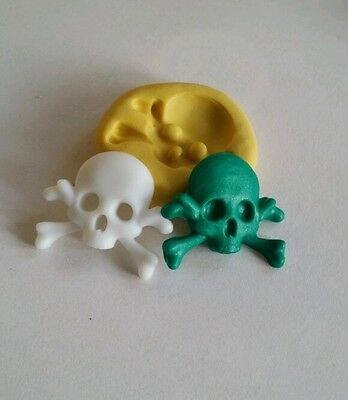 Skull & bones 26mm flexible silicone mold for chocolate fondant clay & more