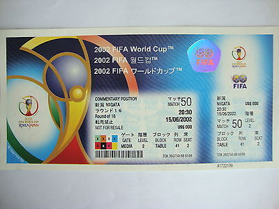 2002 World Cup - Match 50 Denmark v England - Complete Ticket in MINT CONDITION