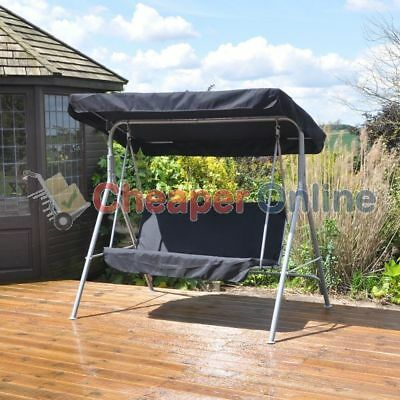 2 Person Textoline Swinging Garden Hammock with Black Canopy & Seat Pads