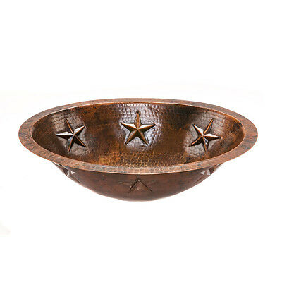 """Premier Copper Products LO19FSTDB 19"""" Star Under Counter Hammered Copper Sink"""