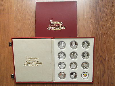 1987 SNOW WHITE & SEVEN DWARFS 1 OUNCE SILVER PROOF COIN 50TH ANNIVERSARY SET
