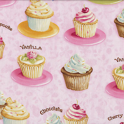 Cupcakes on Pink Cup Cake Food Baking Kitchen Quilt Fabric FQ or Metre NEW