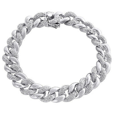 "Miami Cuban Diamond Bracelet Mens .925 Sterling Silver 8"" Pave Round Cut 3 Ct."
