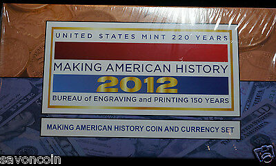 2012 S Making American History Coin and Currency Set $1 Silver Eagle and $5 Note
