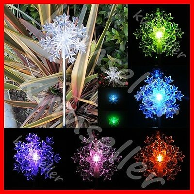 20 pcs Solar Powered Snowflakes 3D Garden Yard Stake Pathway Lawn LED Light Sun