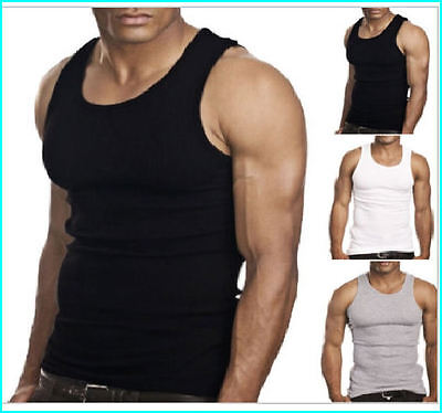 Mens 100% Cotton Fitted Fine Ribbed Vests Sleeveless Gym Training Summer Tanktop