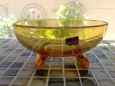 Vintage Contemporary Style Viking Amber Glass Bowl - Still Has Tag