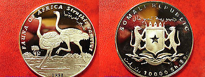 1998 Somalia Large Silver Proof  10000 sh Ostrich