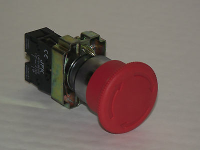 Emergency Stop Button, Twist to Release, CE,  1 N/C contact, 40mm/NEW!! (PT/A2)