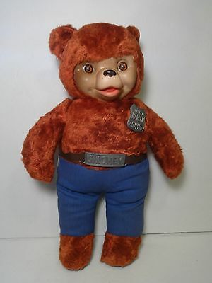 "1950s RARE AUTHENTIC"" IDEAL SMOKEY THE BEAR STUFFED TOY w/RUBBER FACE"