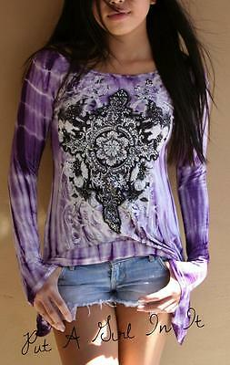 Vocal Crystal Cross Purple Tie Dye Dyed Crocheted Lace Back Tunic Shirt M L Xl