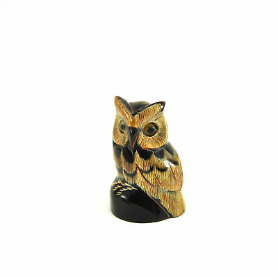 Vtg Owl figurine statue hand carved sculpture scrimshaw craft handmade Tiny S