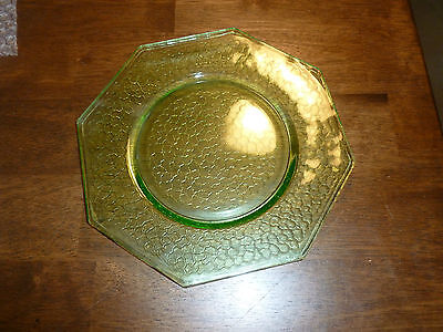 L.E. Smith 'By Cracky' Green Salad Plate - Uranium Glass - 1920's era - Octagon