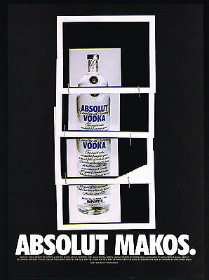 1999 Absolut Makos Christopher Makos Art Vodka Bottle Vintage Print Ad