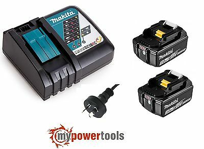 Makita DC18RC 14.4V - 18V Li-Ion Battery Charger +(2) Makita BL1830B 18V Battery