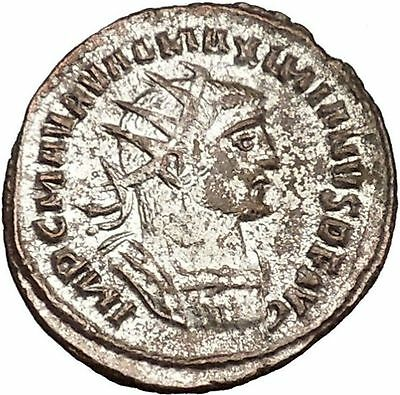 MAXIMIAN Mint State Fully Silvered Ancient Roman Coin Jupiter Hercules i41962
