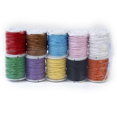 10 Colors x 8M Waxed Cotton Macrame Cord DIY Jewelry Beading Making String 1mm