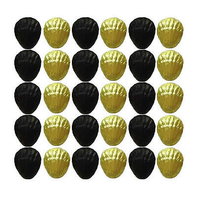 100 Black And Yellow Gold Chocolate Shells - Wedding Birthday Parties Favours
