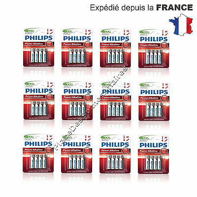 Piles PHILIPS LR3 AAA Power Life 1,5V Neuve Lot de 24