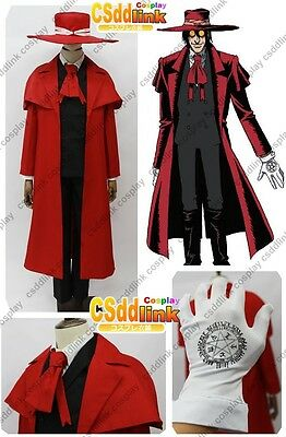 Hellsing Ultimate Alucard Cosplay Costume red with hat