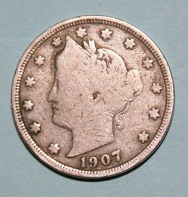 1907  US  Liberty Head ( V ) nickel in  circulated  condition    Free Shipping