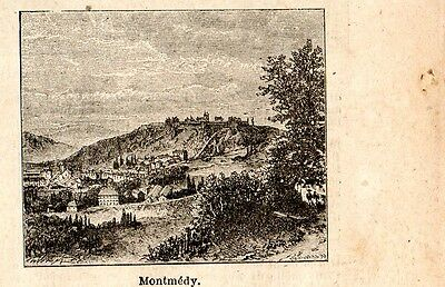Stampa antica MONTMEDY piccola veduta Meuse 1898 Ancien gravure Old Print