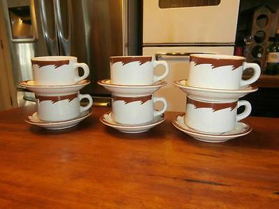 12 PC VTG 6 SETS LAMBERTON STERLING RESTAURANT RAILROAD WARE CUPS & SAUCERS