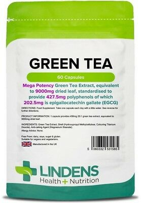 Green Tea x 60 Capsules extract eq 9000mg; 202.5mg EGCG; Slimming; Lindens